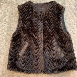Sanctuary Faux Fur Brown Chevron Vest
